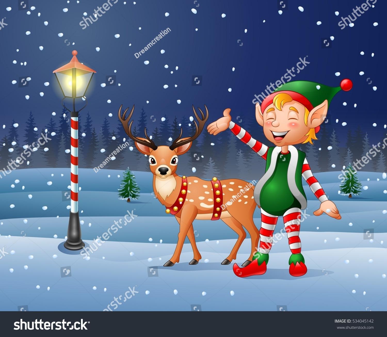 cartoon christmas elf with reindeer stock vector