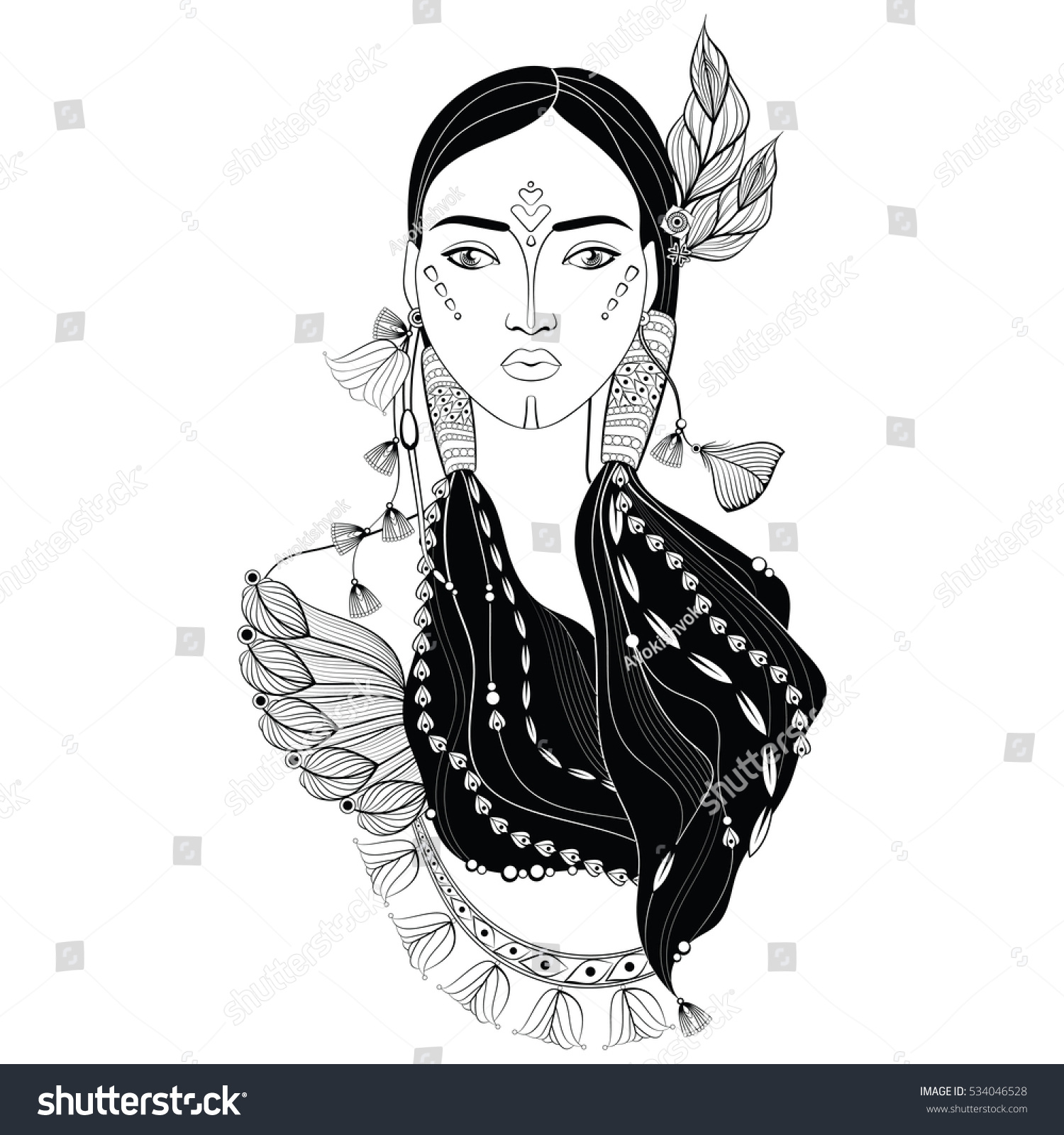 Beautiful indian woman in zentangle style hand drawn vector illustration sketch for adult coloring