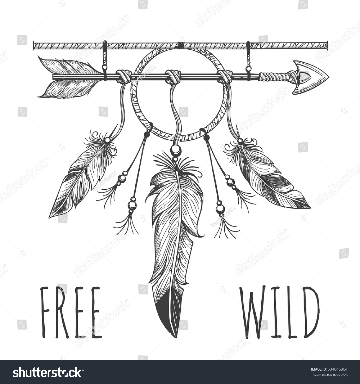 Native American Accessory Arrow Feathers Lettering Stock Vector Royalty Free 534046864