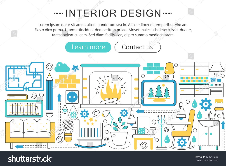 Vector Modern Line Flat Interior Design Decor Concept Decoration Icons Website Header