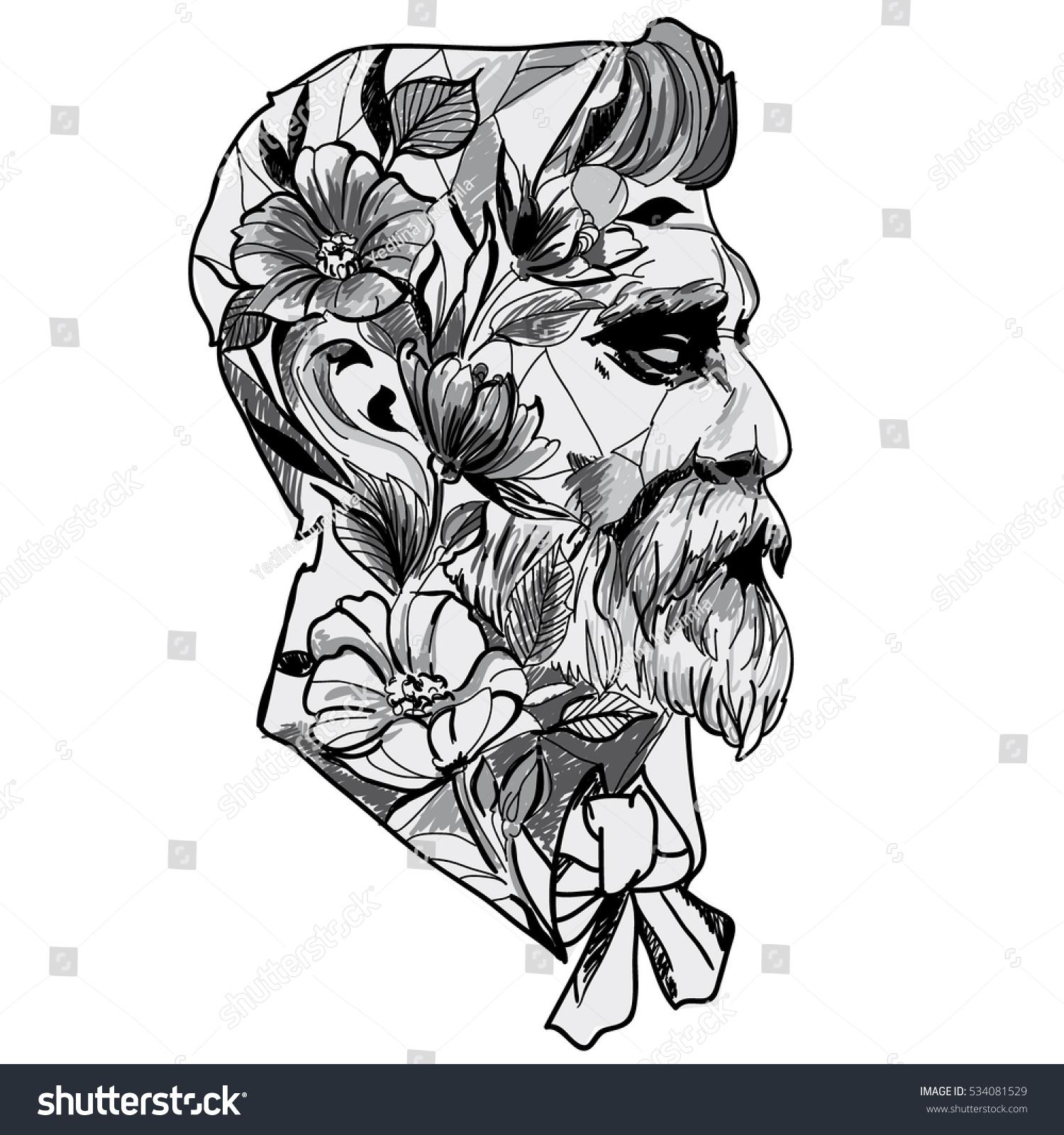 Black White Sketch Head Man Vector Stock Vector Royalty Free
