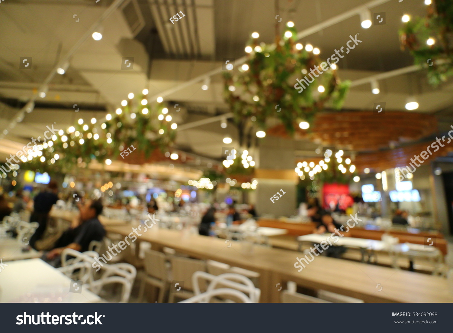 Food court fast restaurant interior stock photo