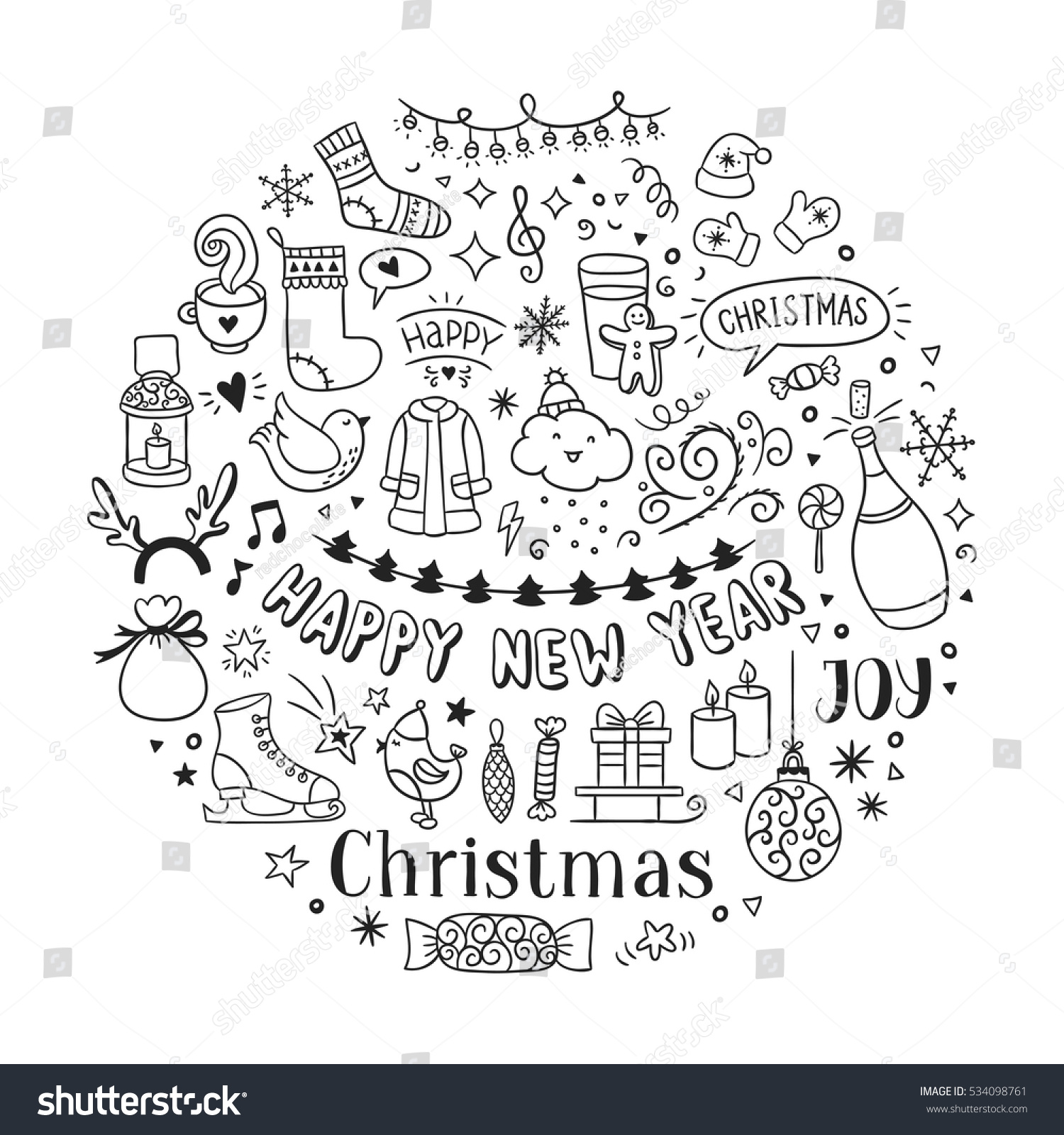 Hand drawn Christmas and New Year icons and doodles Seasons greetings sketch illustrations