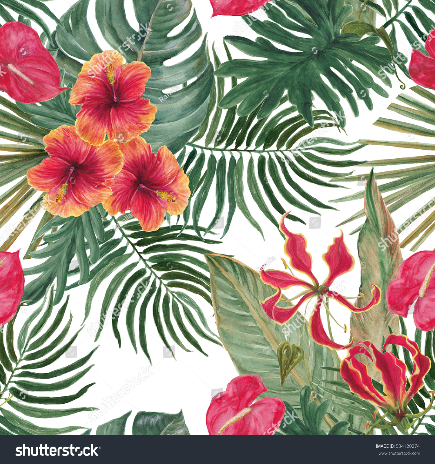 Watercolor seamless pattern with beautiful exotic hibiscus flowers id 534120274 izmirmasajfo