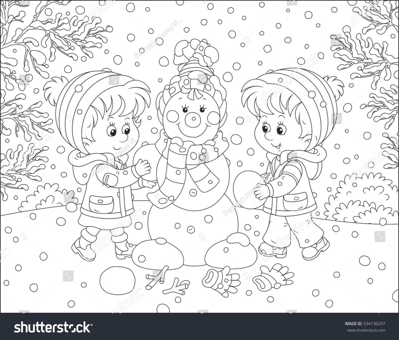 children making christmas snowman stock vector 534130297