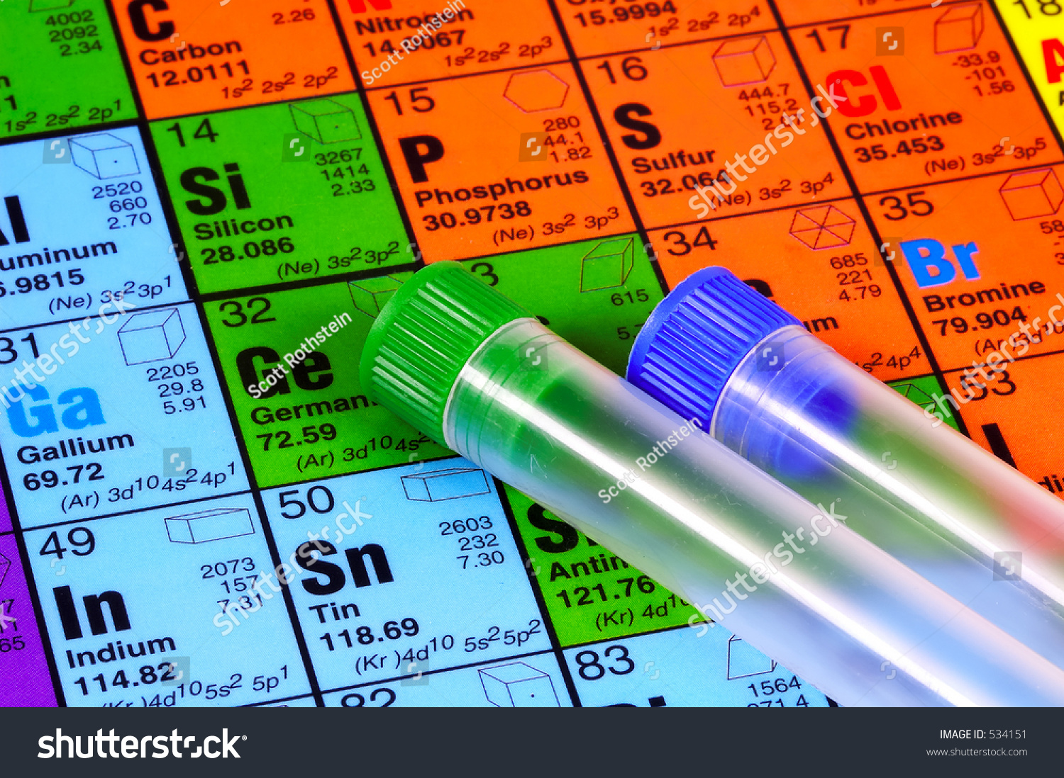 Periodic table test tubes stock photo download now 534151 periodic table and test tubes urtaz Images