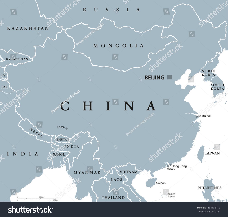 China Political Map Capital Beijing National Stock Vector Royalty
