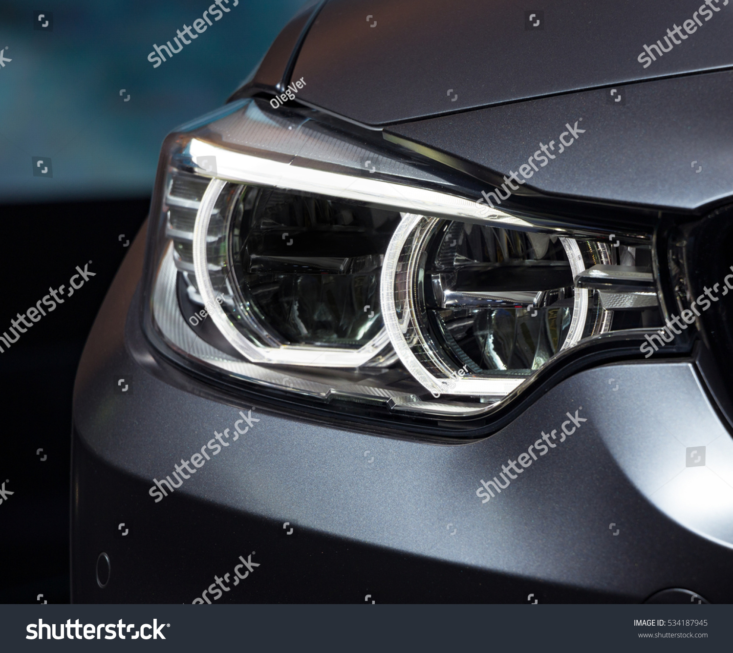 Headlight By Night Car Detail Front Stock Photo Edit Now 534187945