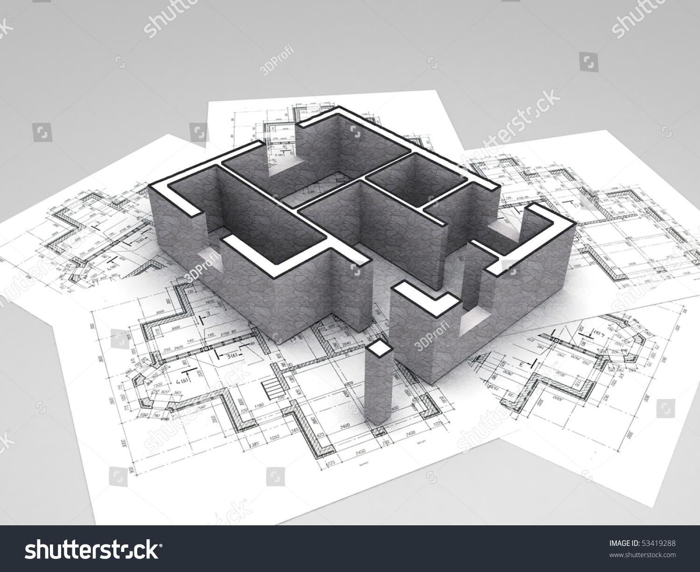 3D Plan On Top Of Architecture Blueprints