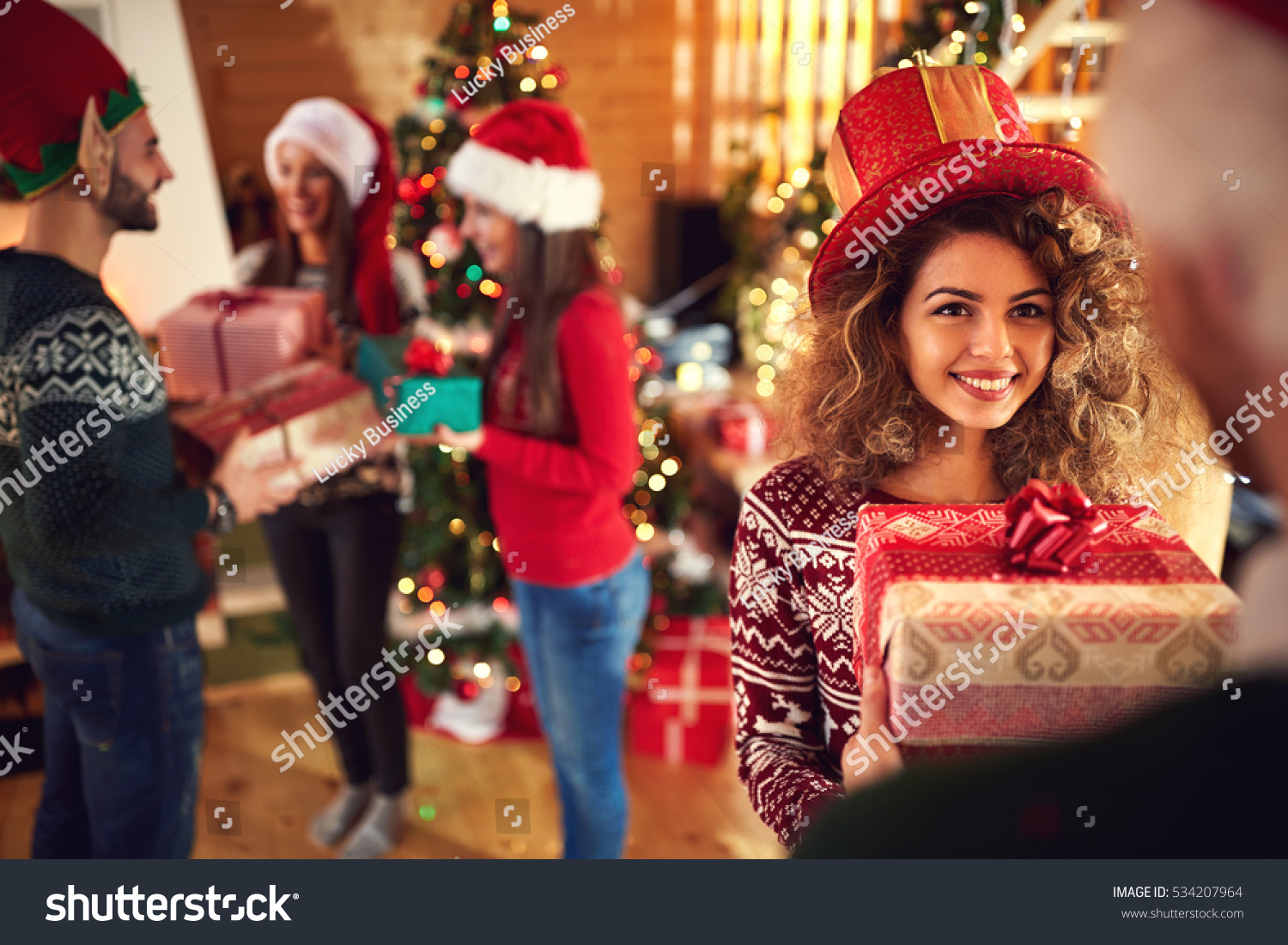 Friends giving gifts christmas stock photo 534207964 shutterstock friends giving gifts for christmas negle Choice Image