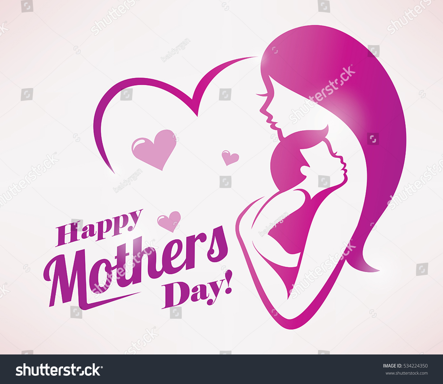 Happy Mothers Day Greeting Card Template Stylized Symbol Of Mom And Baby