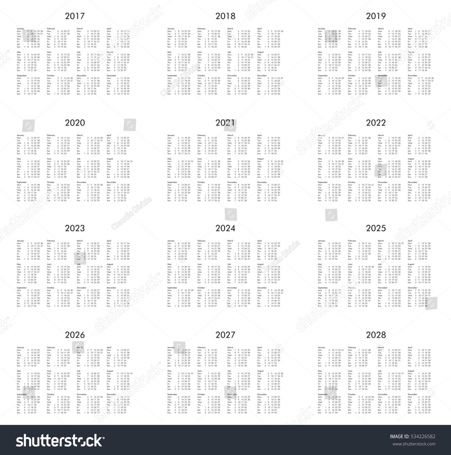 Calendar Years 2017 2018 2019 2020 Stock Illustration 534226582