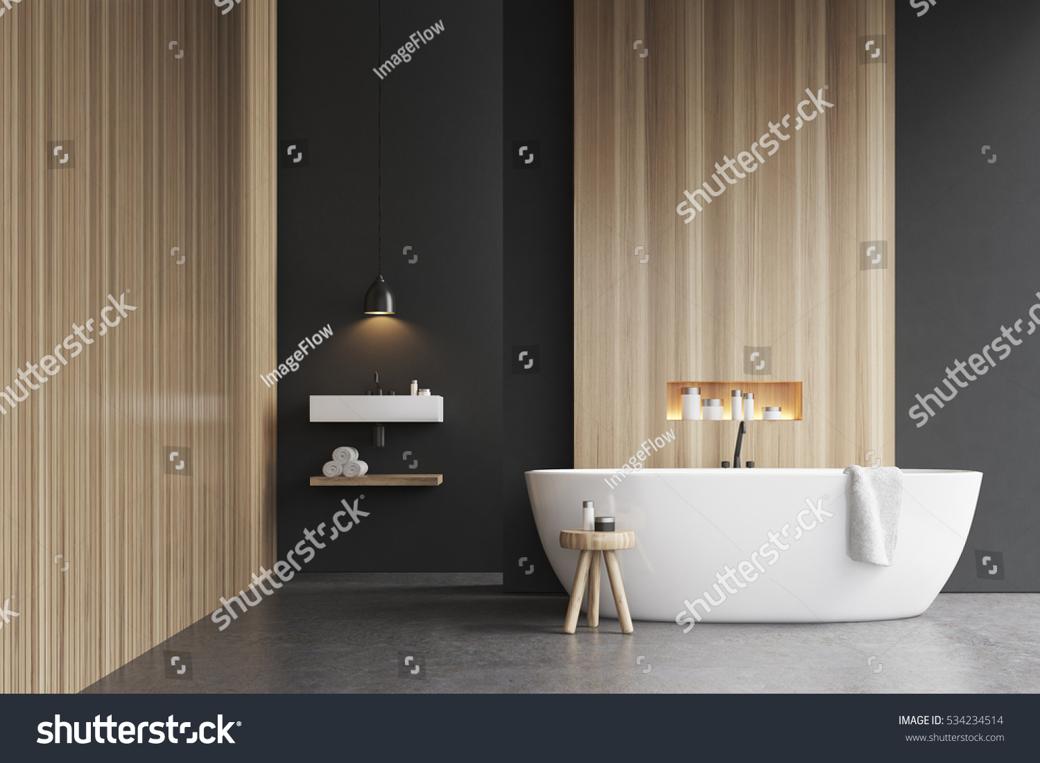 bathroom interior bathtub 3d rendering mock stock photo 534234514