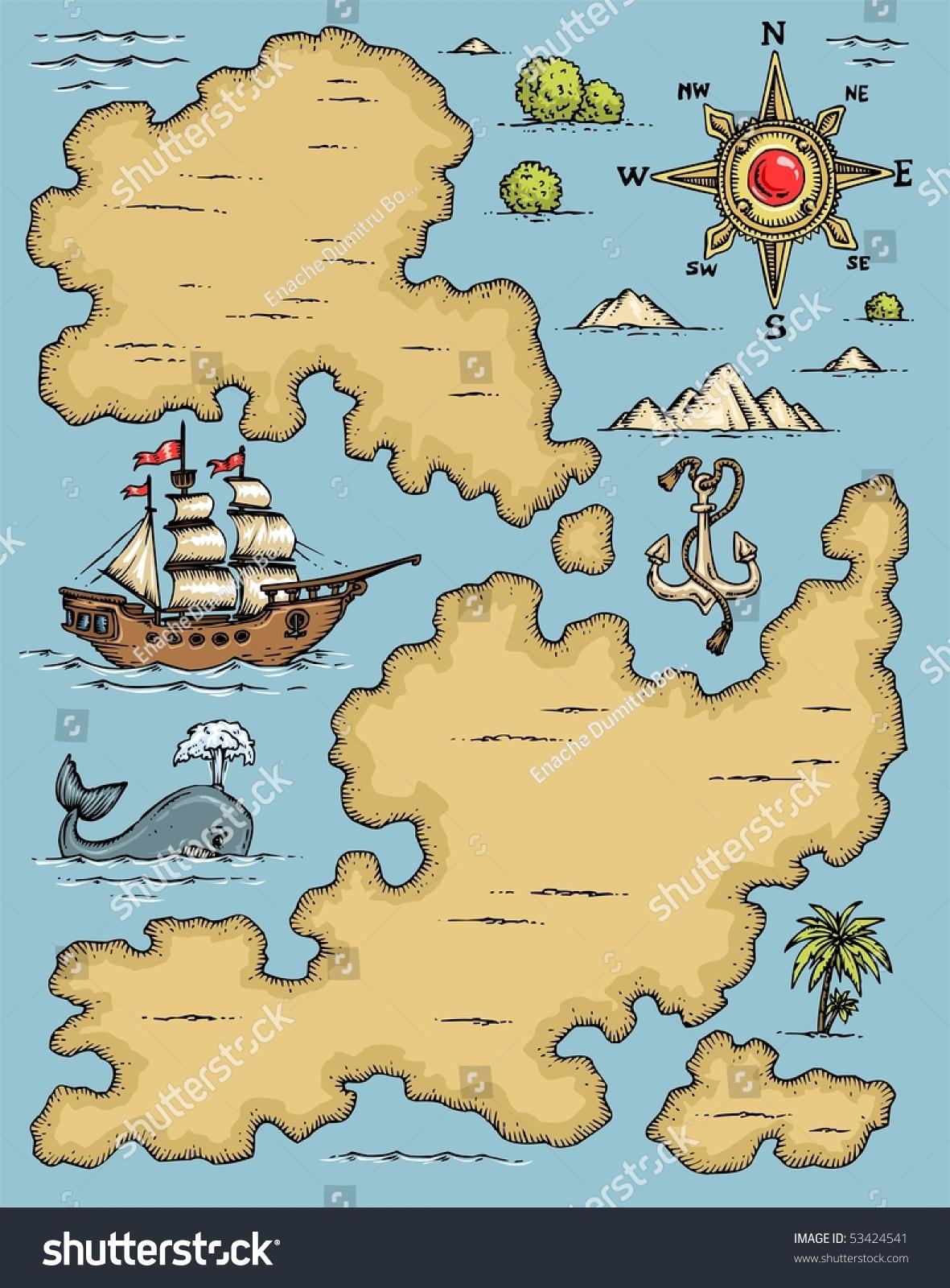 Cartoon Old Map Elements Color Clip Stock Vector 53424541