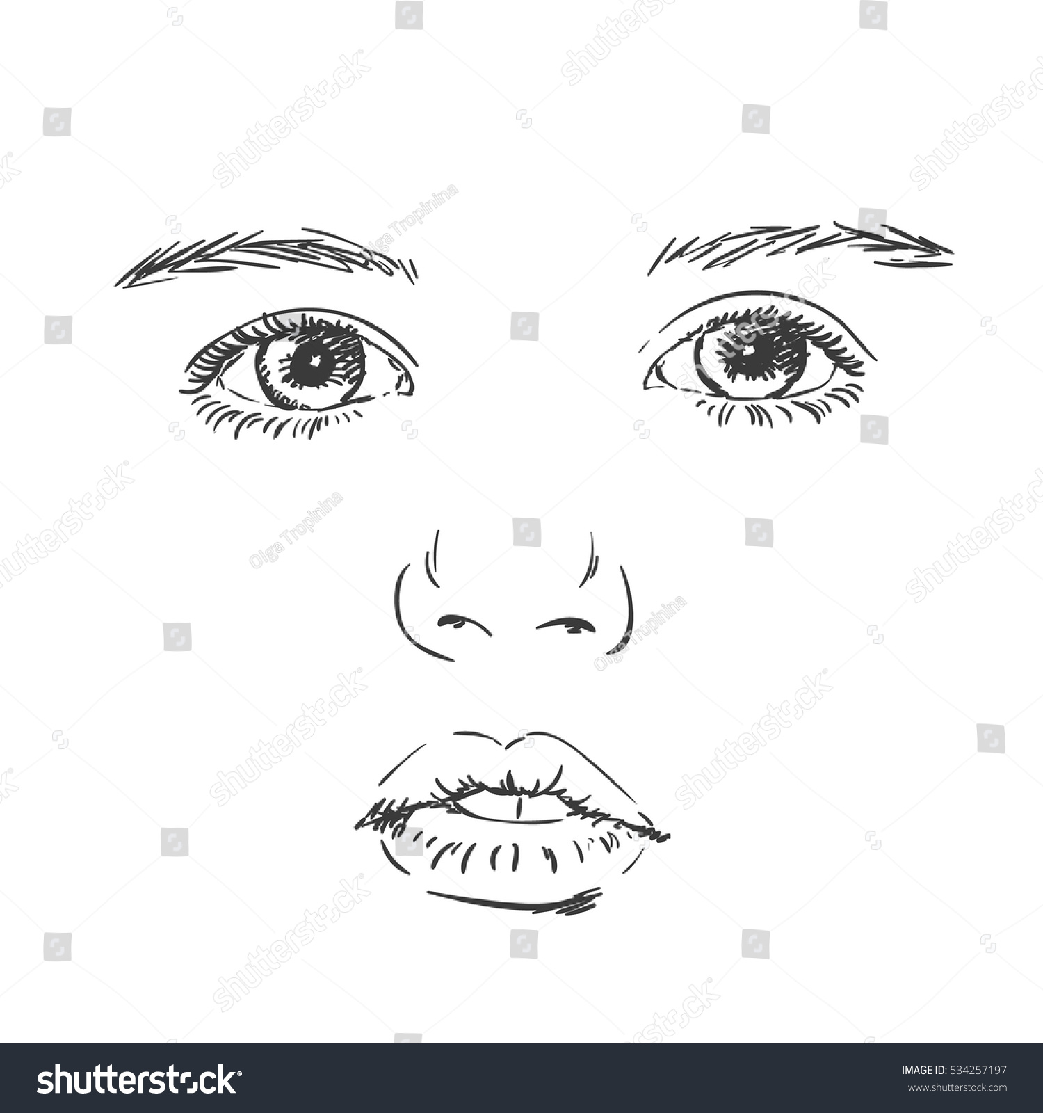 Face of baby girl vector sketch hand drawn illustration