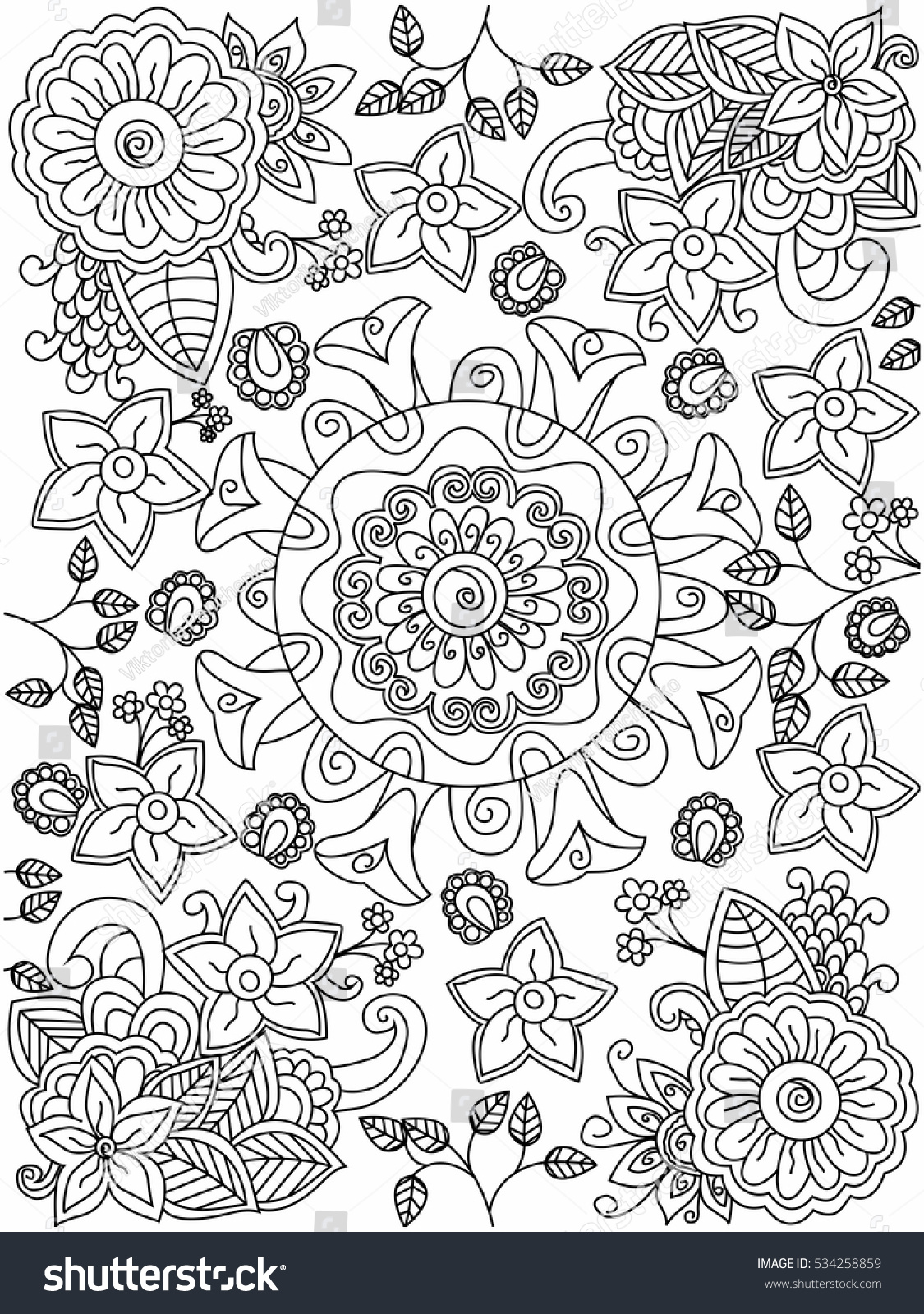 Stress coloring book for adults - Mandala Flower Coloring Book For Adults Vector Illustration Anti Stress Coloring For Adult