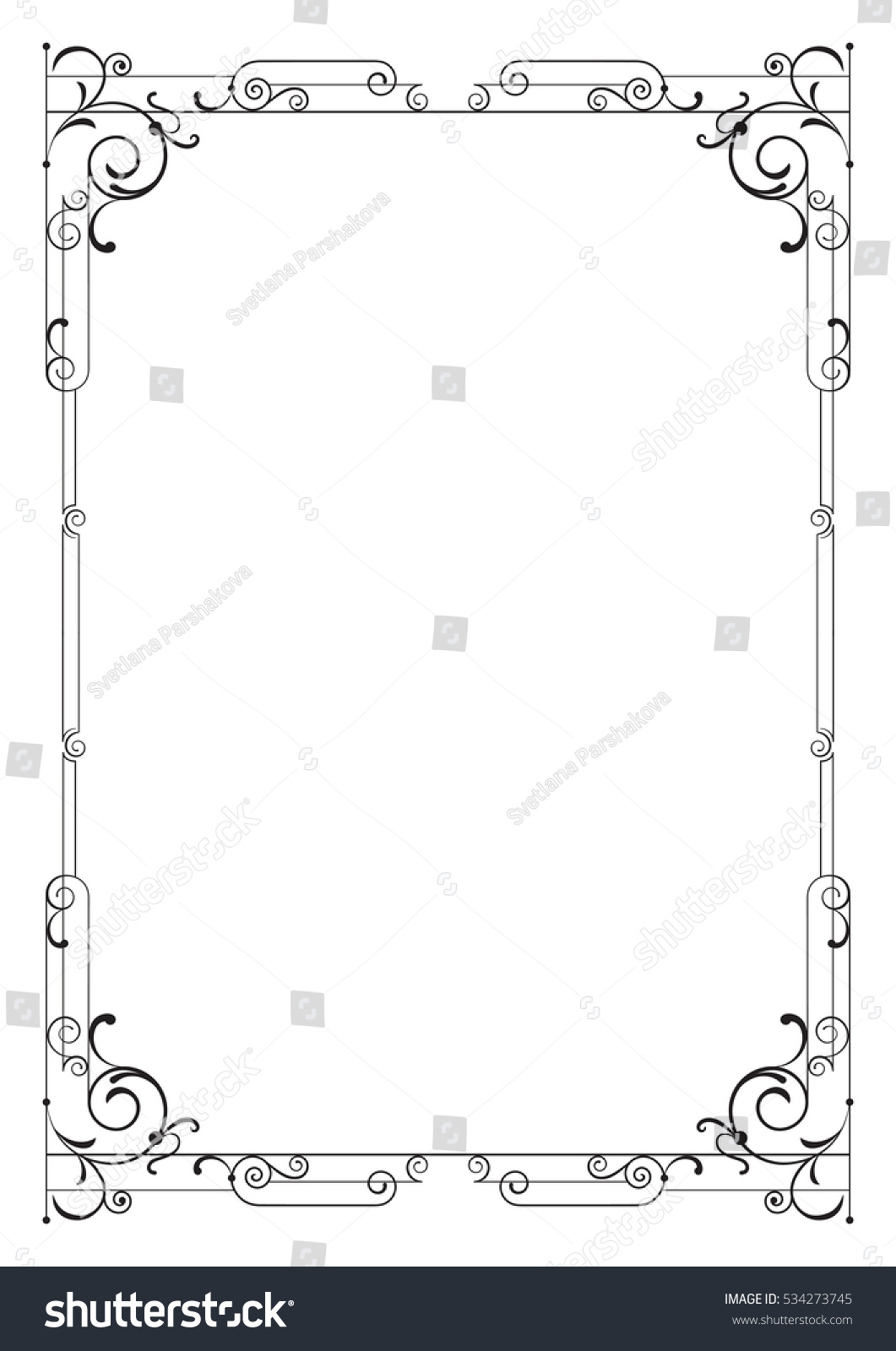 Whimsical Black Rectangular Frame A 4 Page Stock Vector HD (Royalty ...