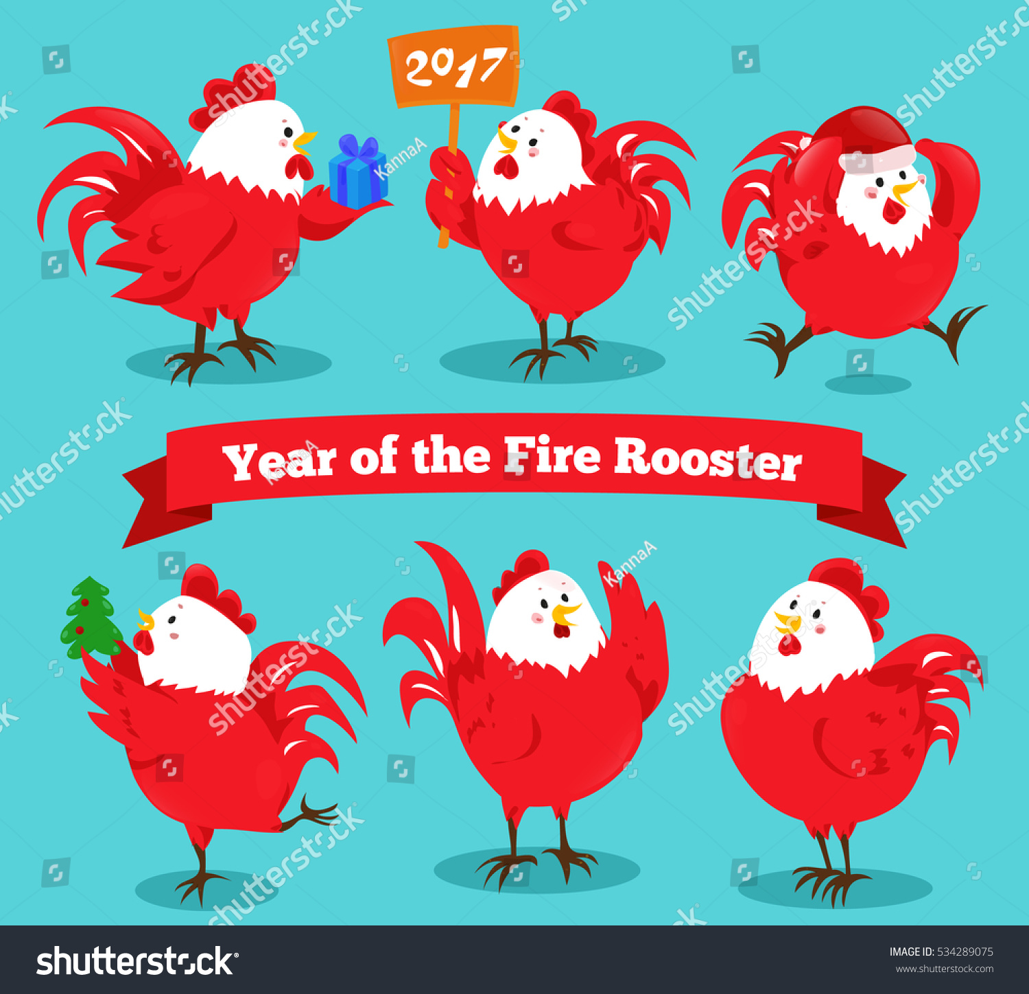 Set Cartoon Chinese Zodiac Fire Rooster Stock Vector (Royalty Free ...