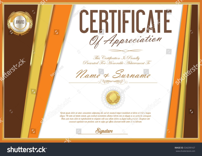 Certificate Retro Design Template Stock Vector 534299167 Shutterstock