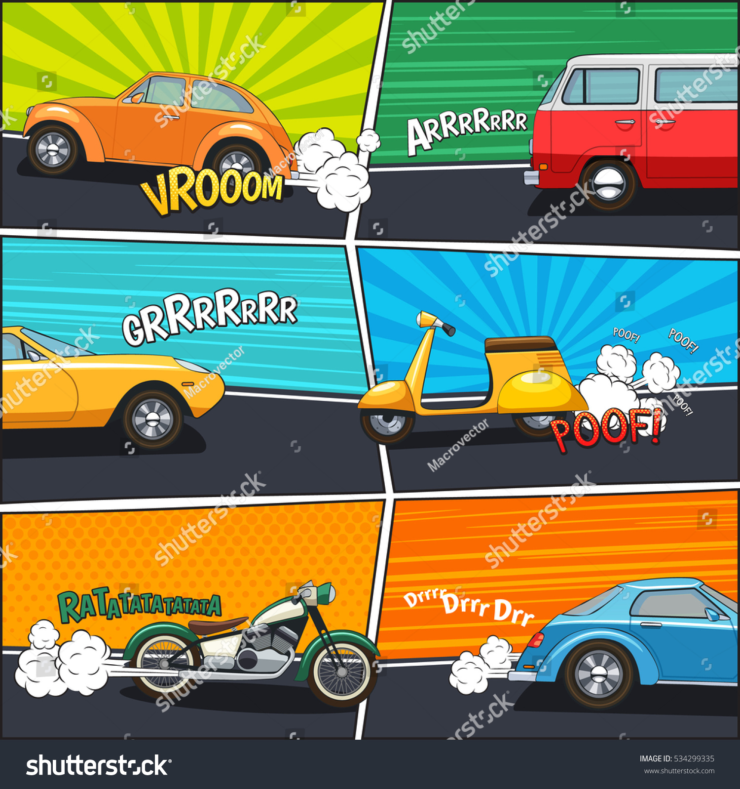 transport comic frames with moving cars van motorcycle and scooter on colorful backgrounds flat vector illustration