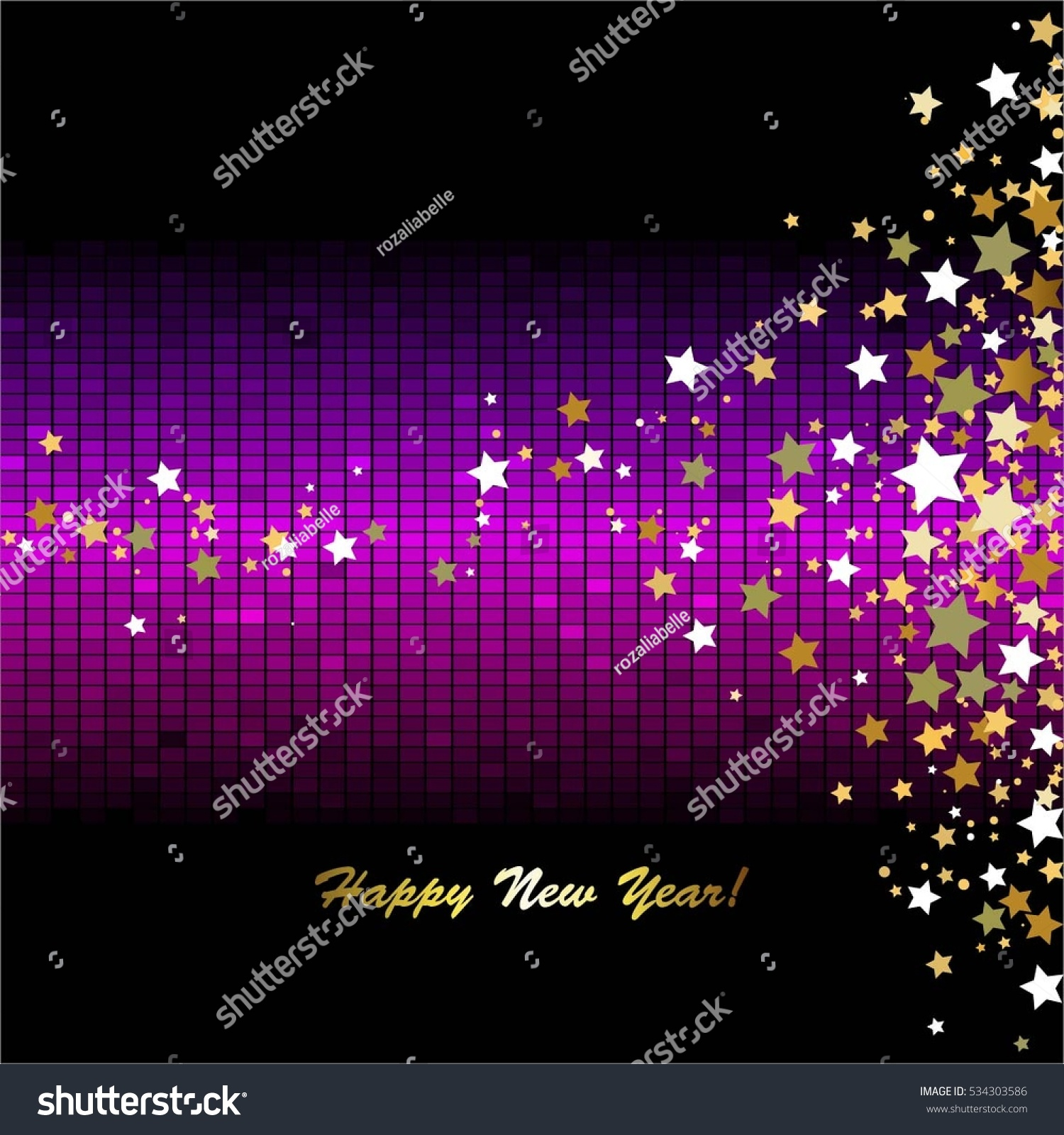 happy new year gold stars on a black purple abstract background