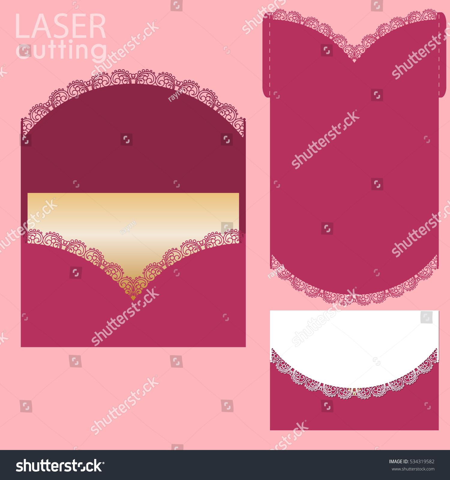 Vector Die Laser Cut Envelope Template Stock Vector (Royalty Free ...