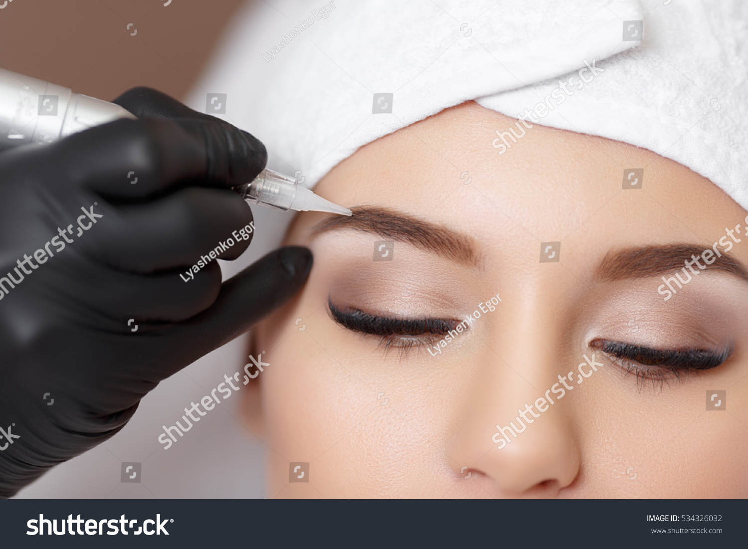 Permanent Makeup Permanent Tattooing Eyebrows Cosmetologist Foto De
