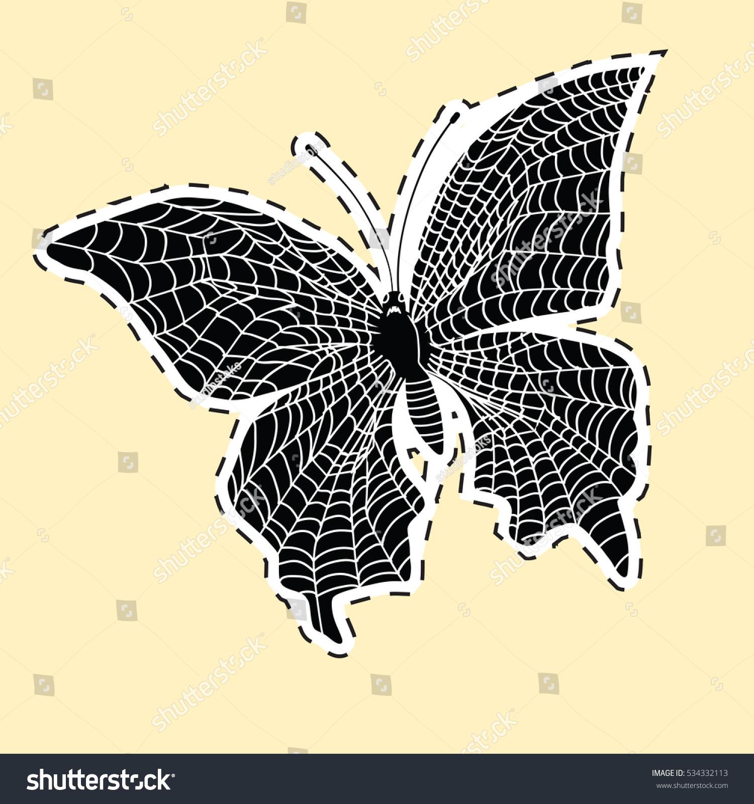 Dark Butterfly Web Label Sticker Pop Stock Illustration