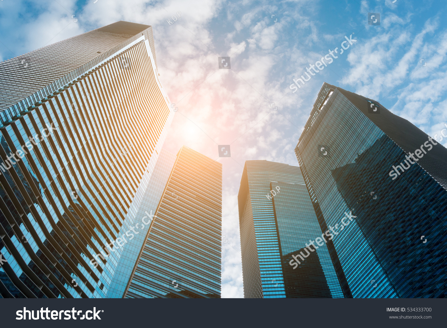 Business Downtown Skyscrapers Highrise Buildings Modern Stock