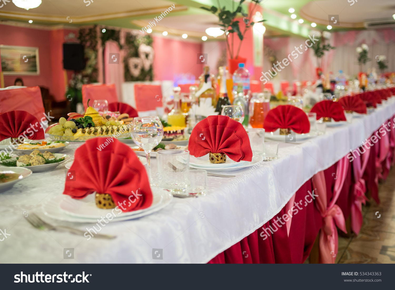 Beautiful decoration wedding table restaurant stock photo