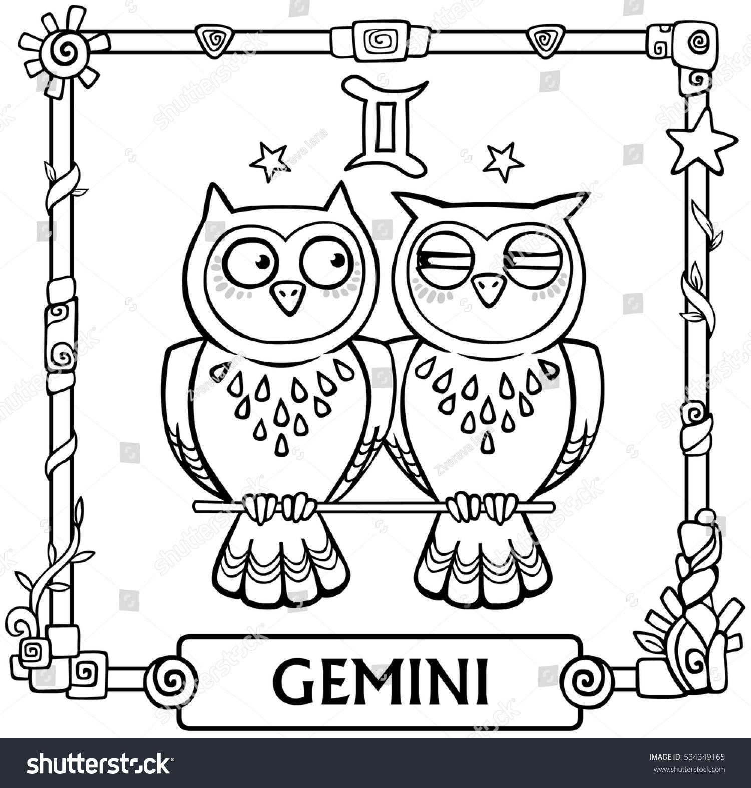 Zodiac sign gemini fantastic animation animal stock vector zodiac sign gemini fantastic animation animal linear drawing vector illustration be used biocorpaavc