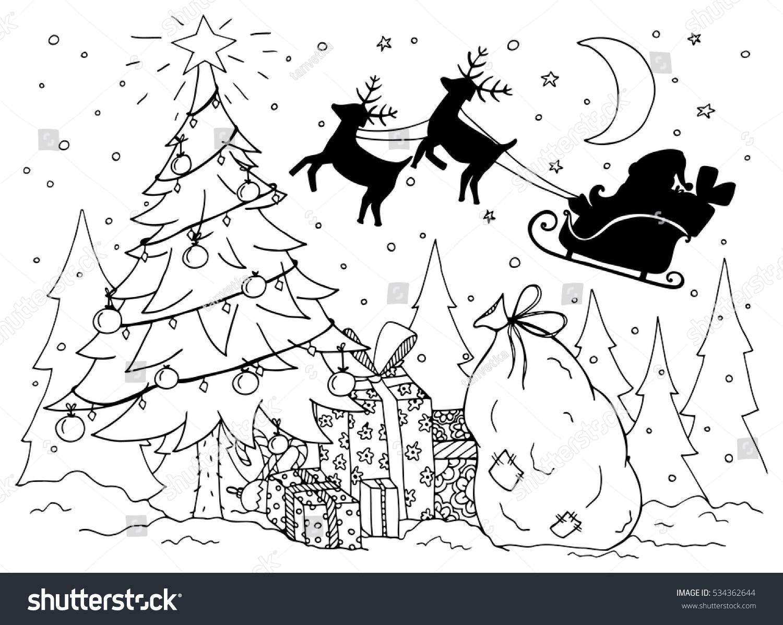 Doodle Illustration Santa Sleigh Reindeer New Stock Vector 534362644 ...
