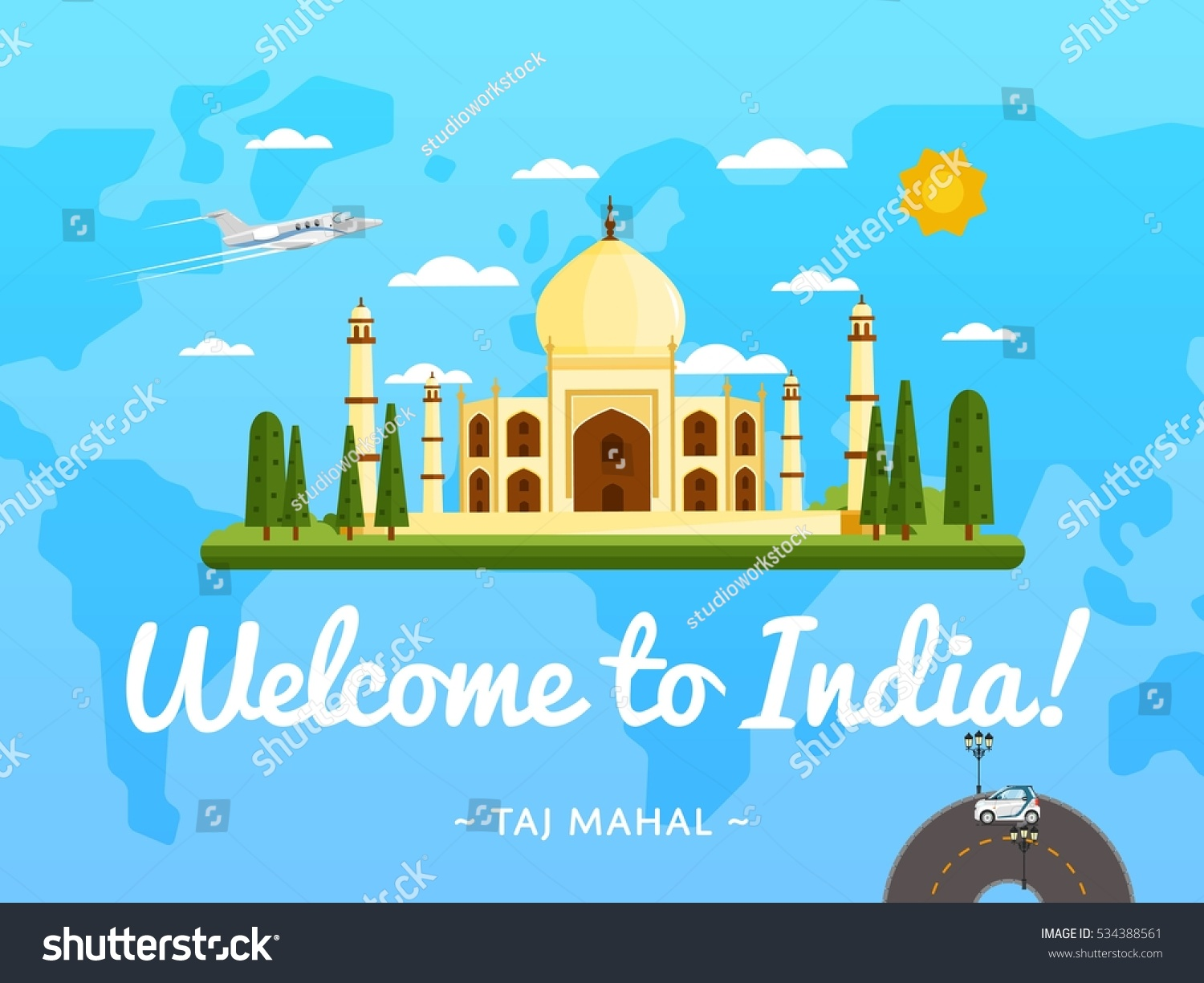 Welcome india travel poster famous attraction vectores en stock welcome to india travel poster with famous attraction vector illustration travel design with ancient palace gumiabroncs Images