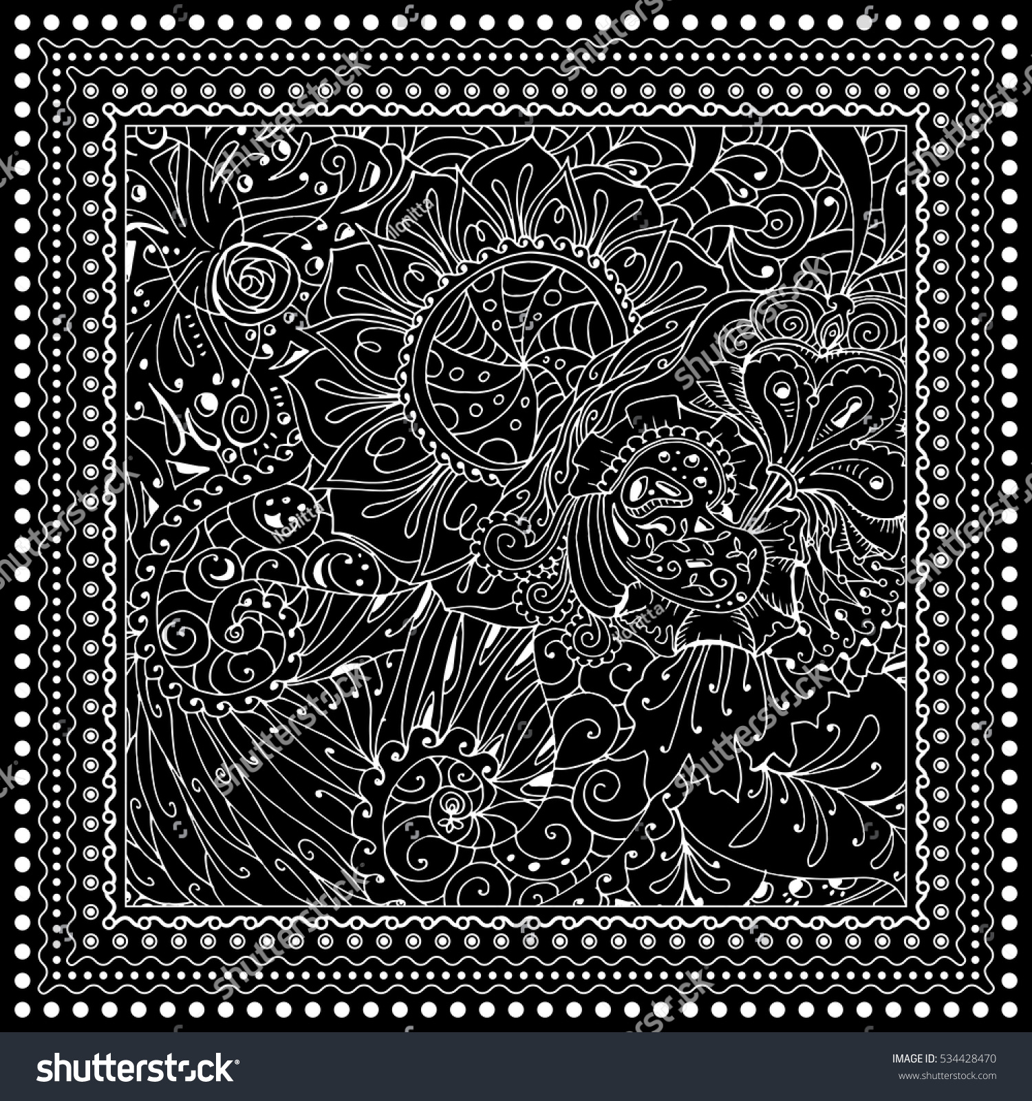 Black Vector Mono Color Illustration Adult Coloring Book Page Design For Adults