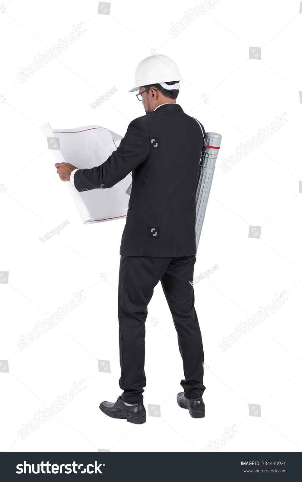 Engineer wear security helmet look blueprint stock photo 534440926 engineer wear security helmet look at blueprint paper construction drawing plan on white background malvernweather Image collections