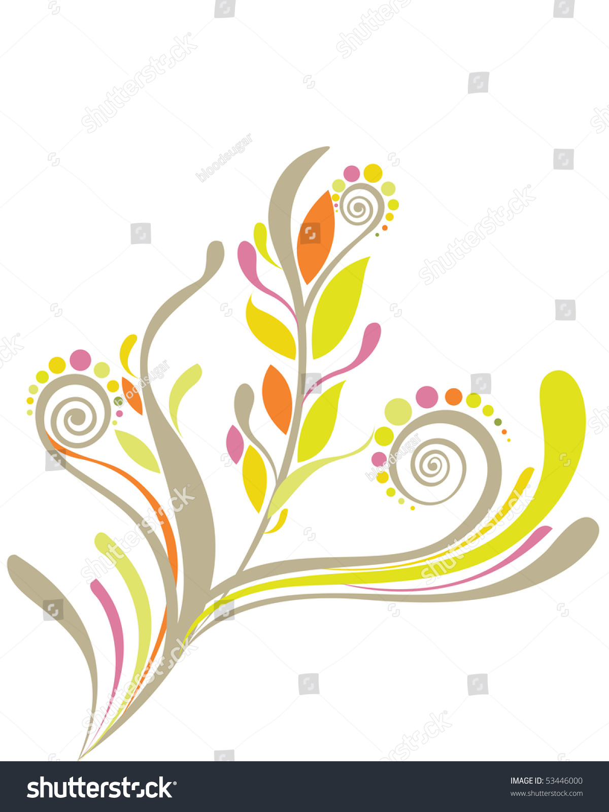 beautiful floral background soft yellow green stock vector 53446000