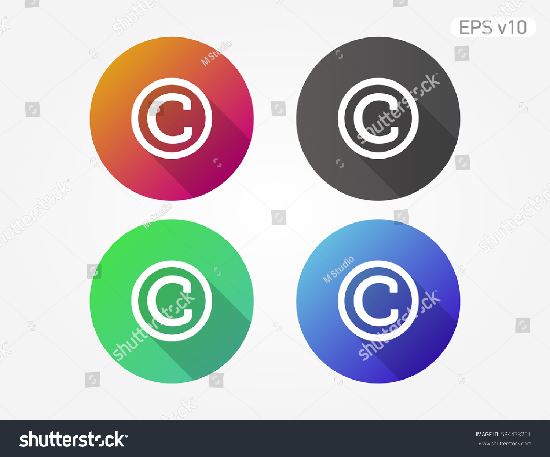 Colored Icon Copyright Symbol Shadow Stock Vector Royalty Free