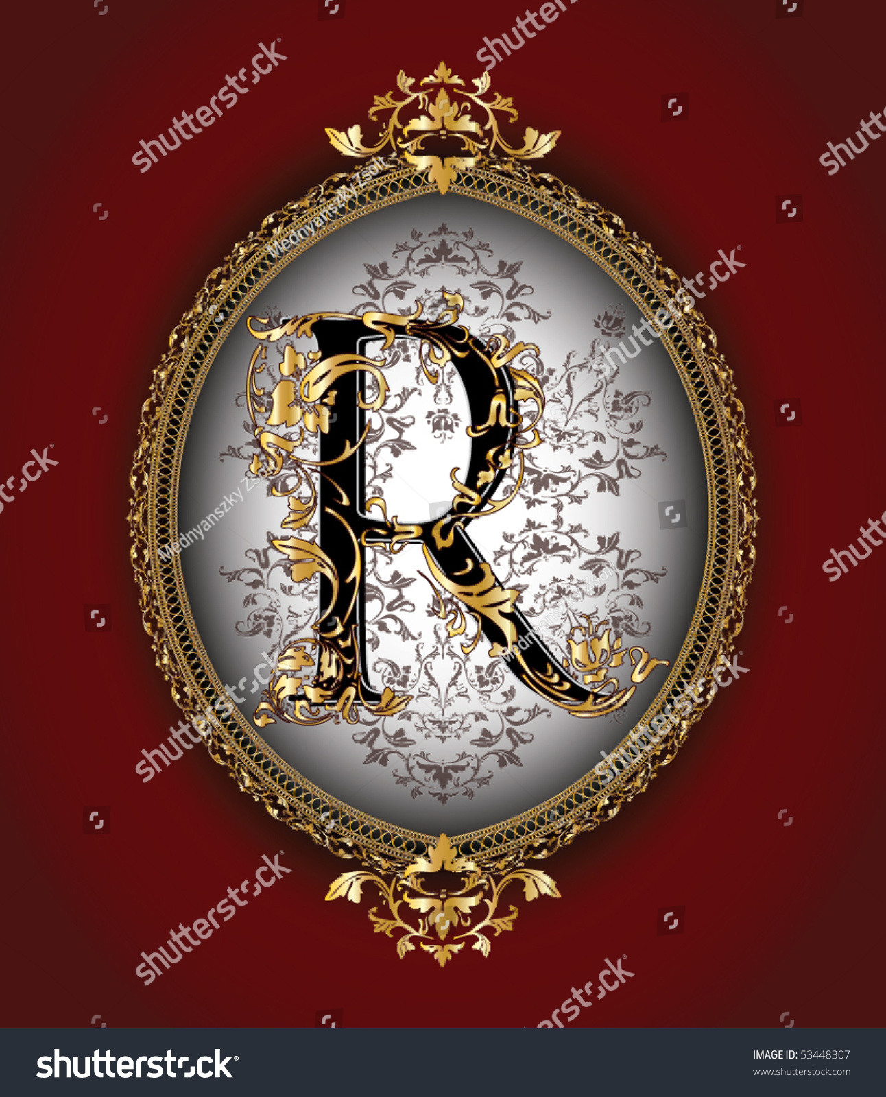 Vintage initials letter r stock vector illustration 53448307