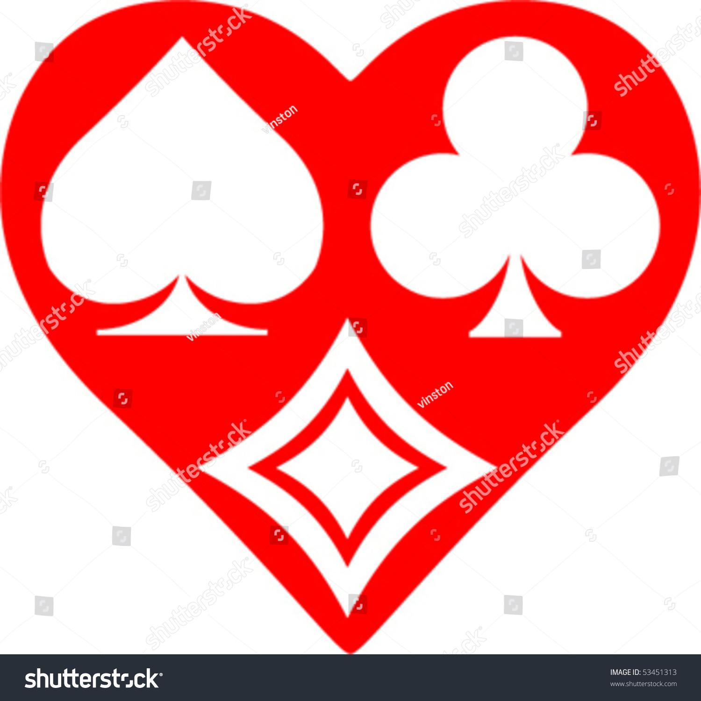 Playing Card Symbol Hearts Stock Vector 53451313 ...