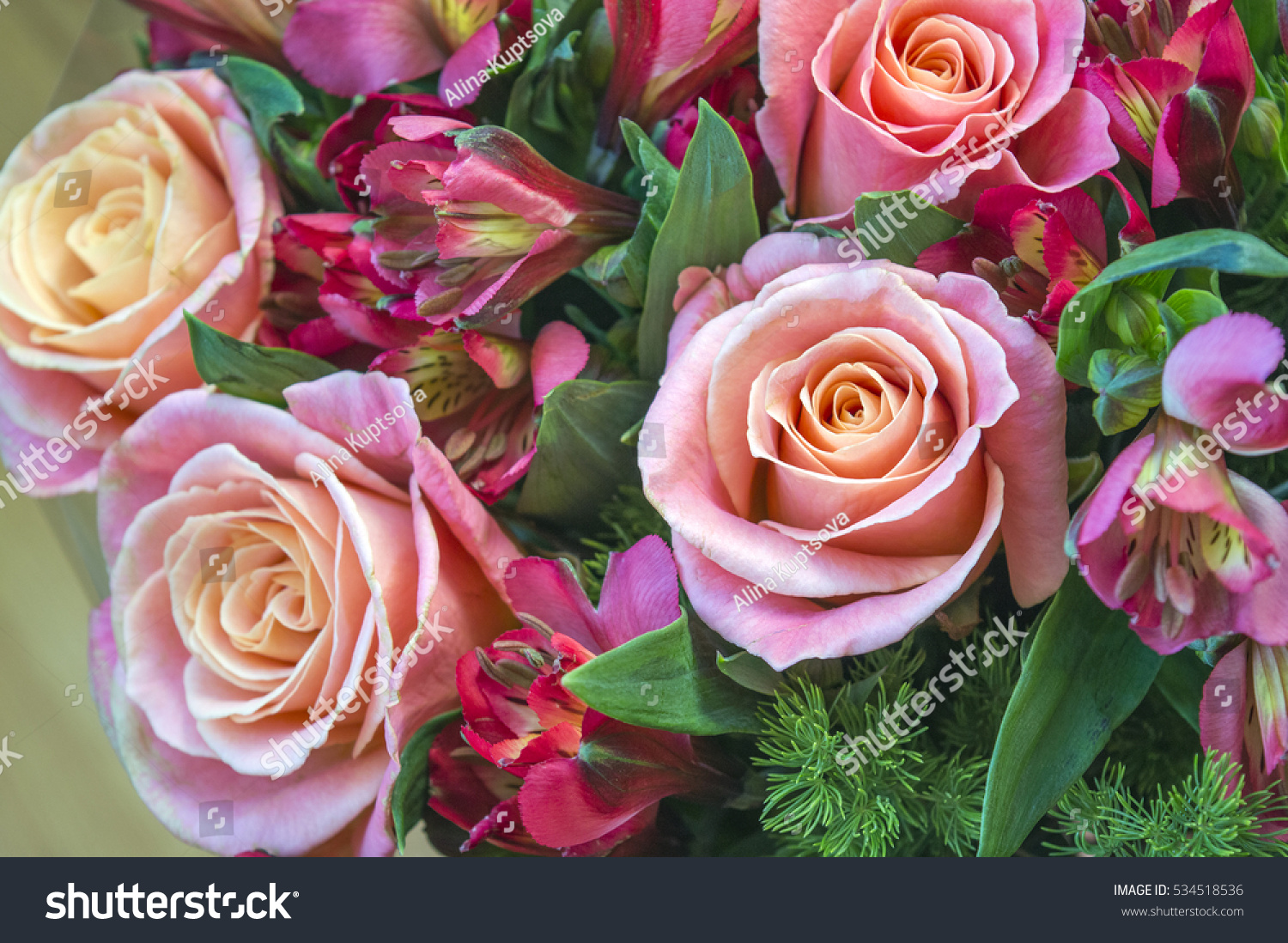Beautiful Valentines Day Flower Bouquet Romantic Stock Photo Edit