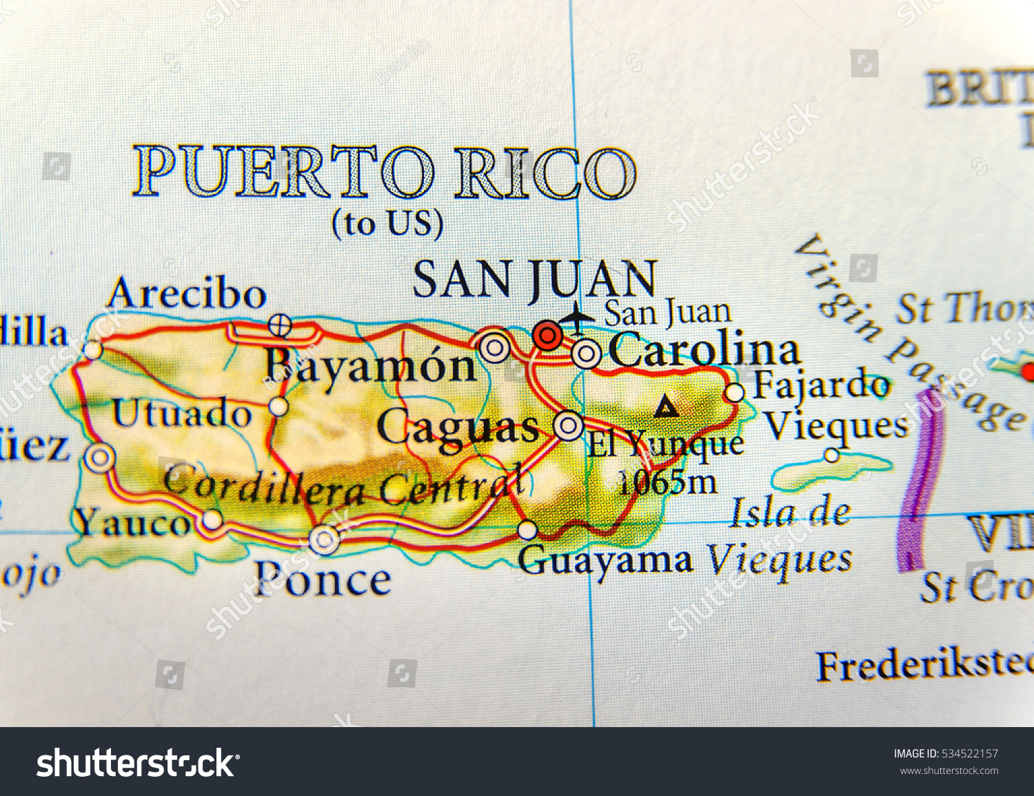 Geographic Map Puerto Rico Capital San Stock Photo 534522157