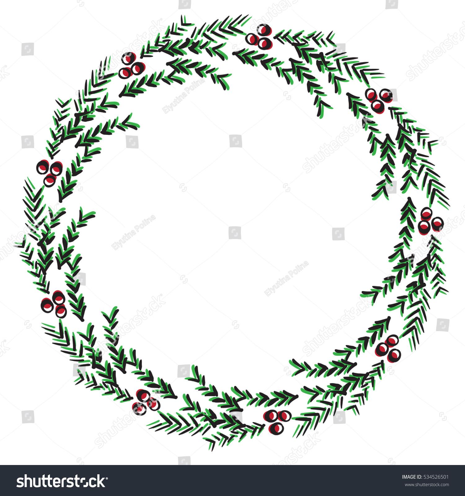Vector Illustration Sketch Greeting Christmas Tree Stock Vector ...