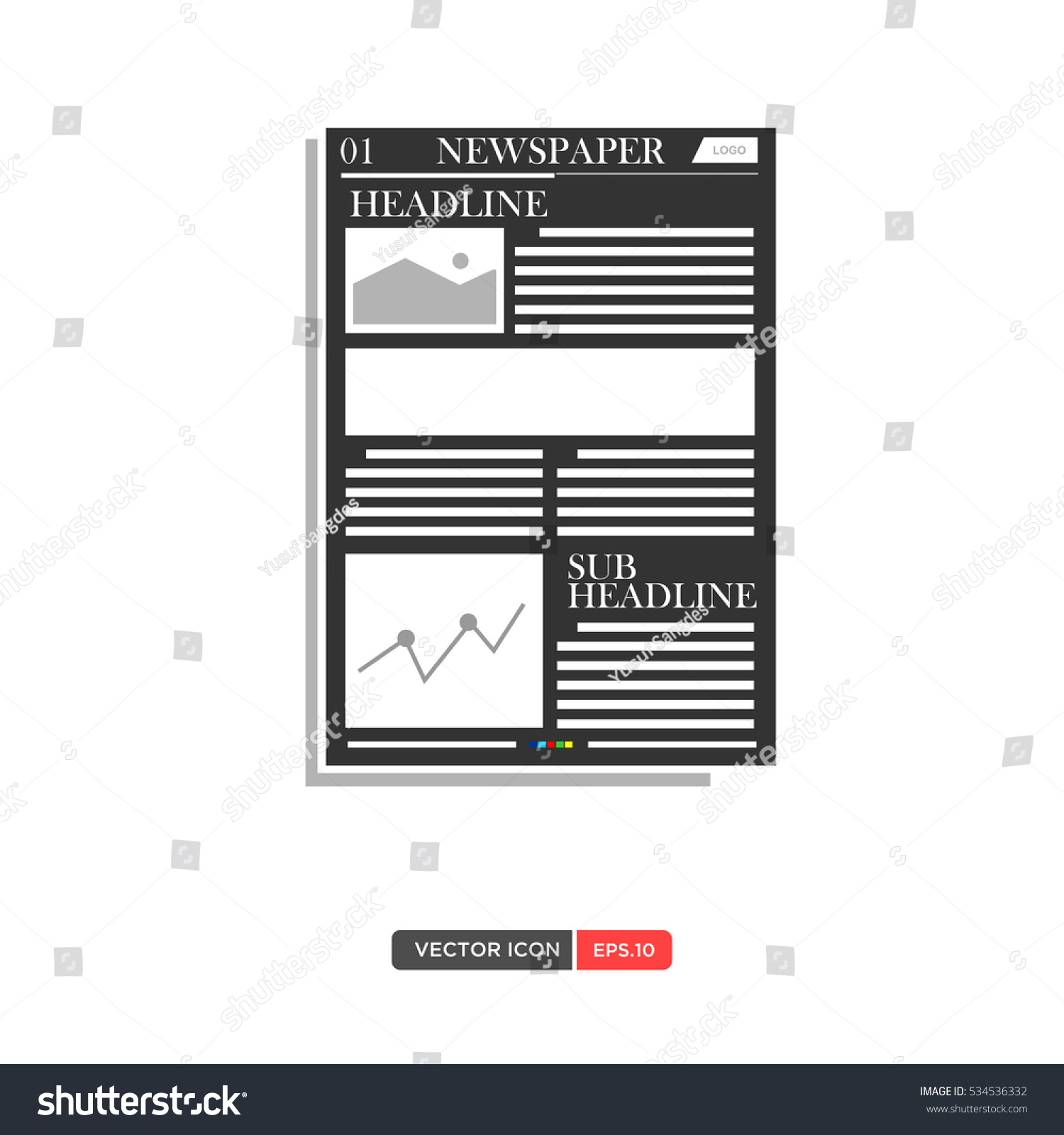 Newspaper Layout Template Icon Vector Illustration Eps.10