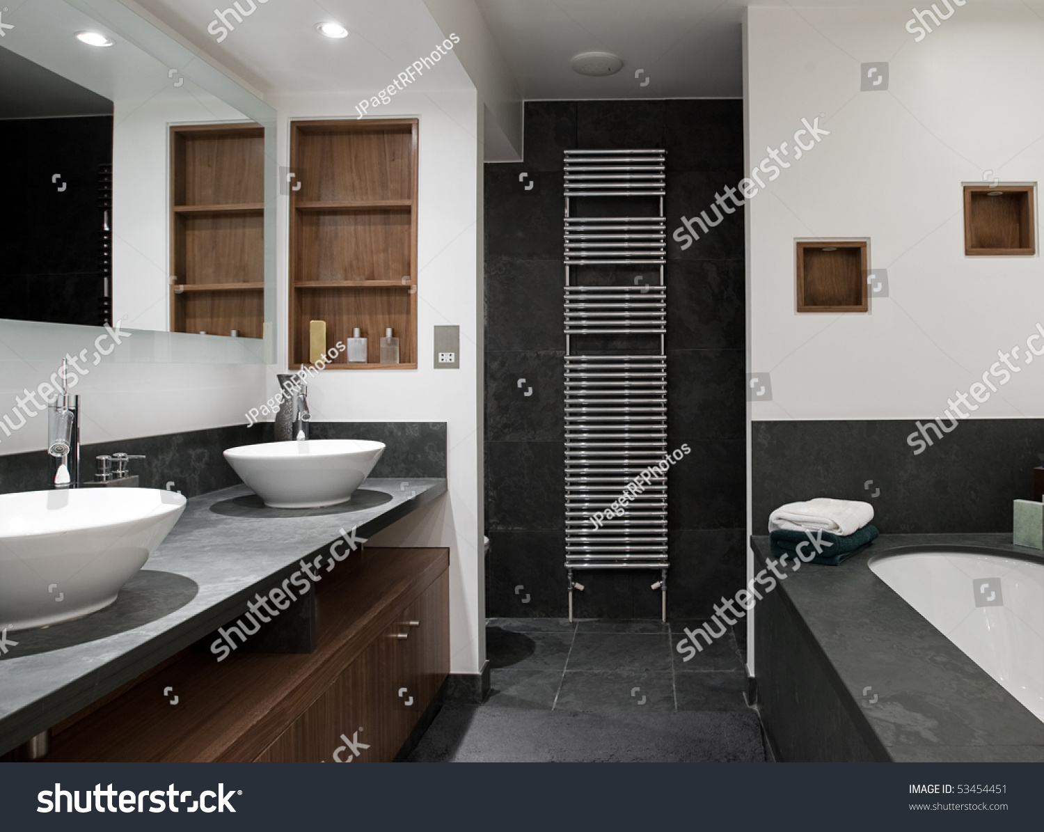 Interior Shot A Luxury Bathroom With His And Hers Sinks