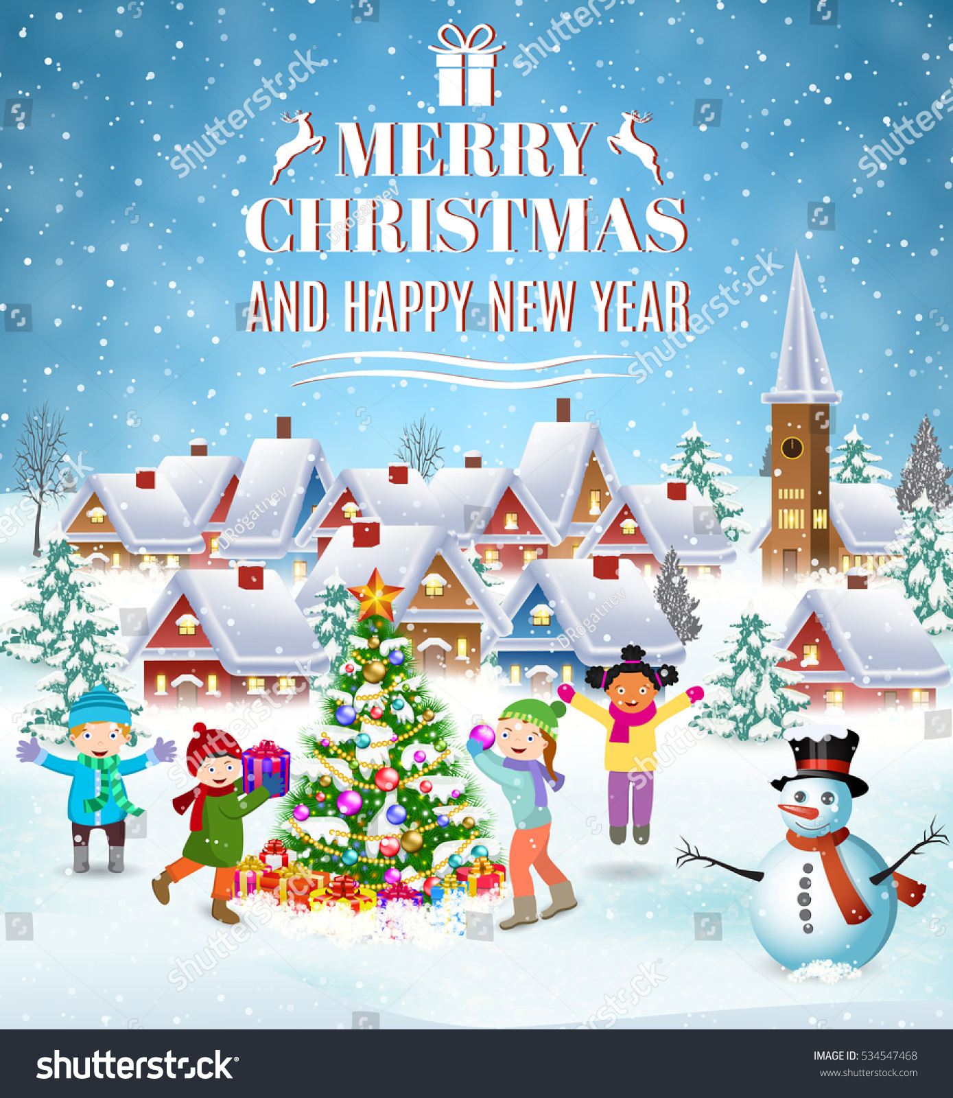 Happy New Year Merry Christmas Greeting Stock Illustration 534547468