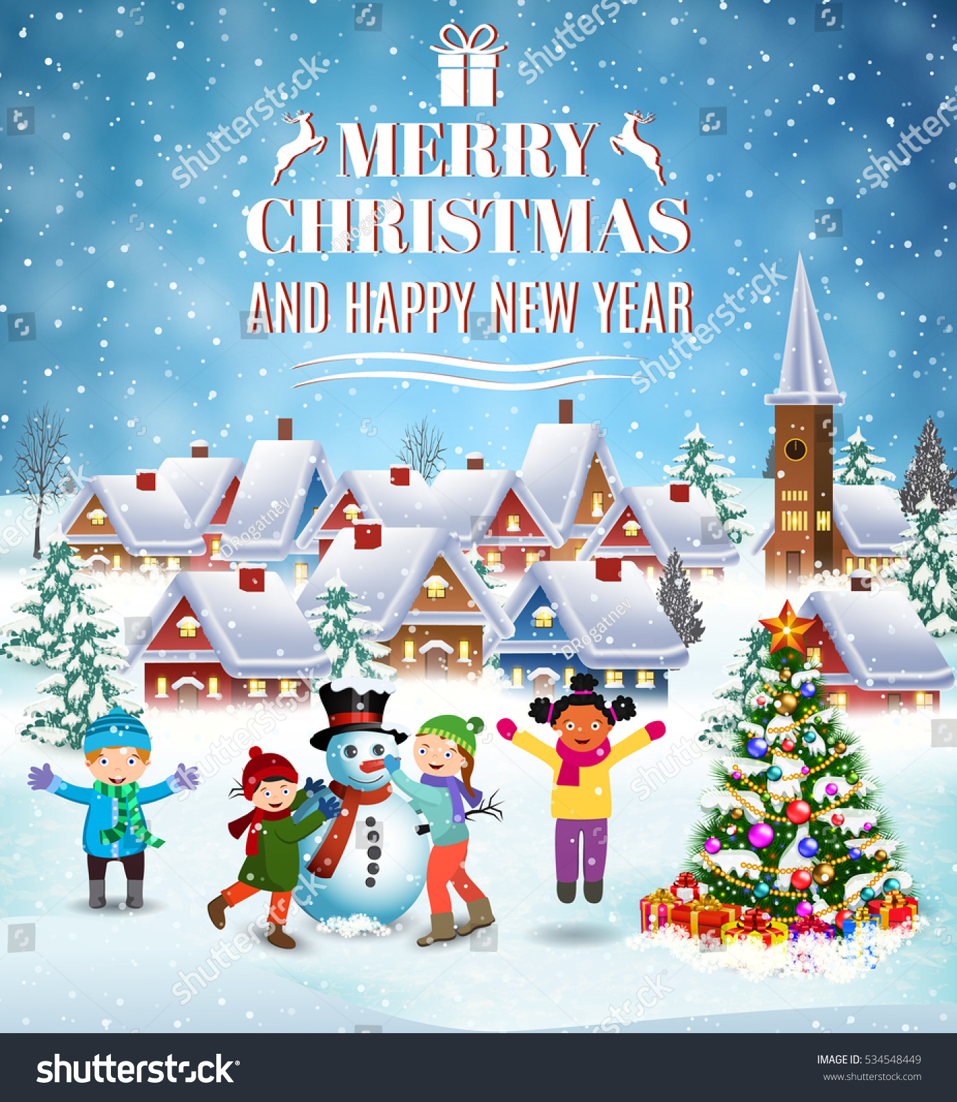 Happy New Year Merry Christmas Greeting Stock Illustration 534548449