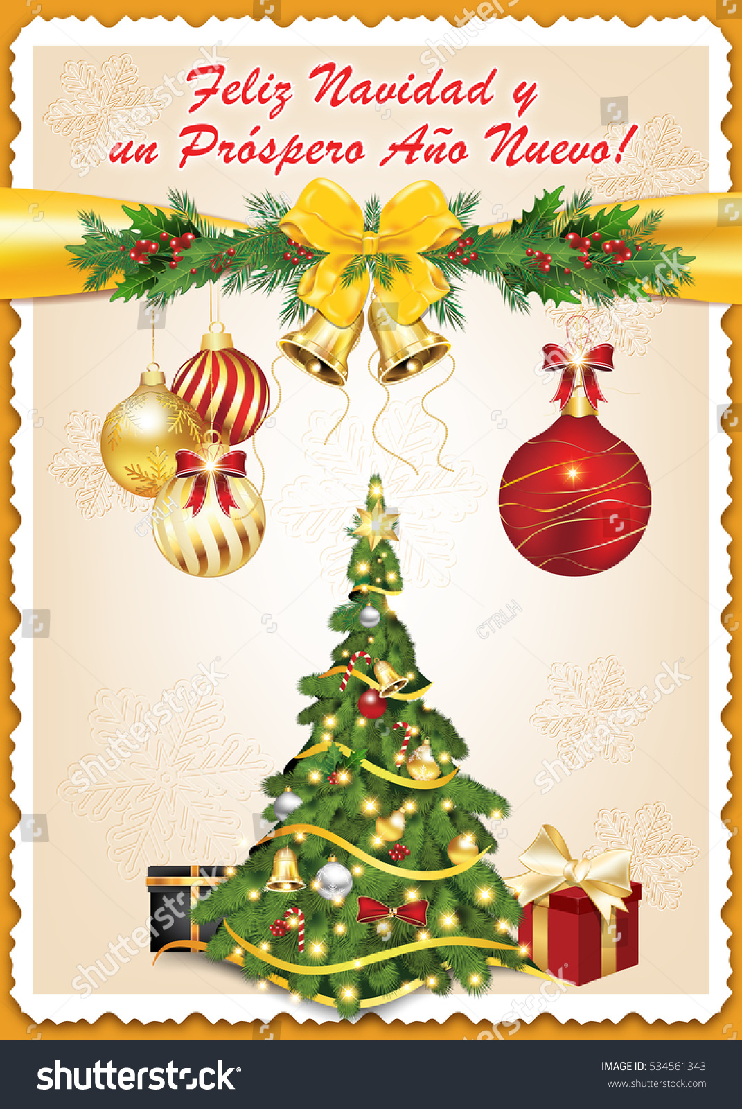 Spanish Business Seasons Greetings Christmas New Stock Illustration