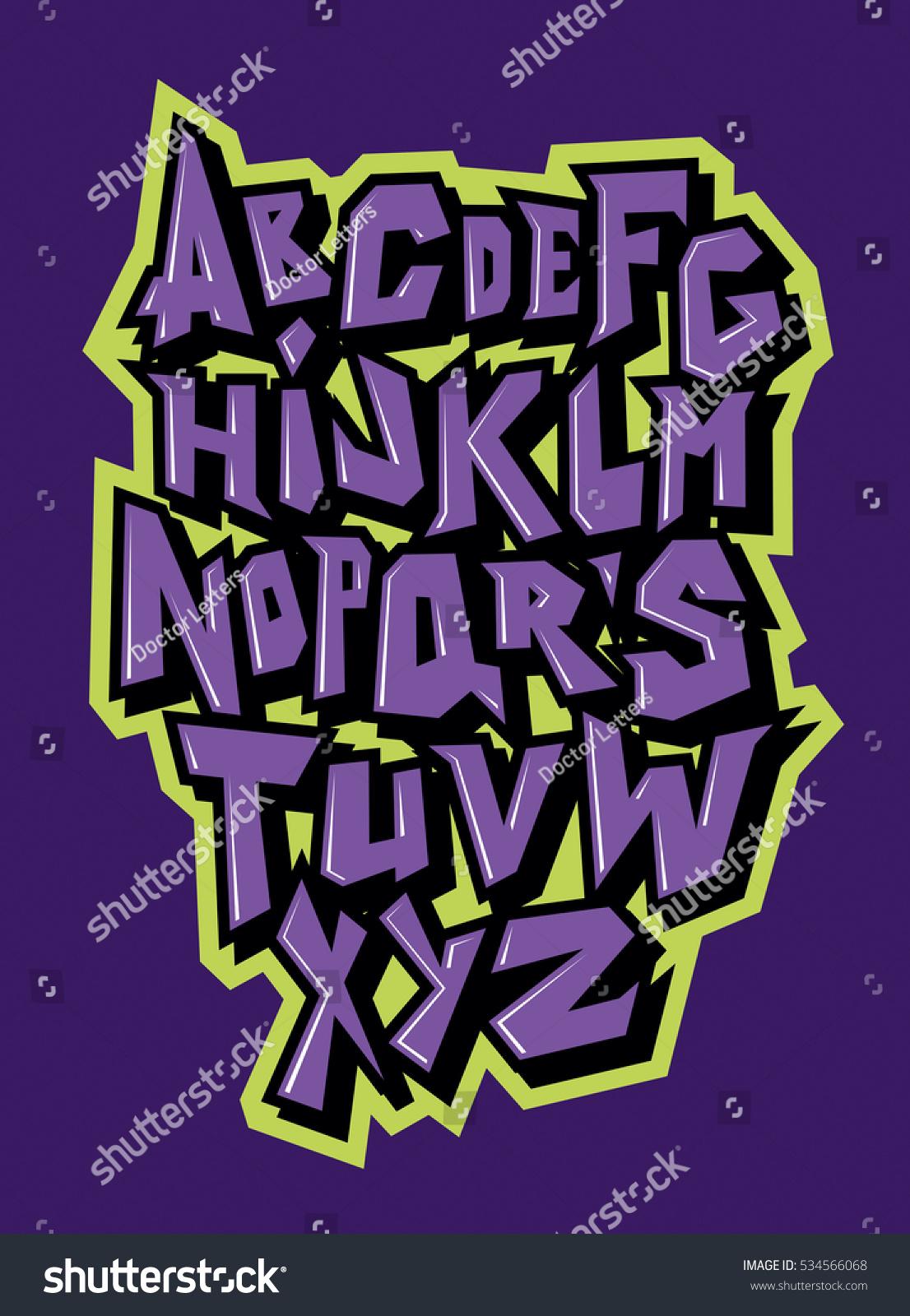 Straight lines comic graffiti font vector alphabet