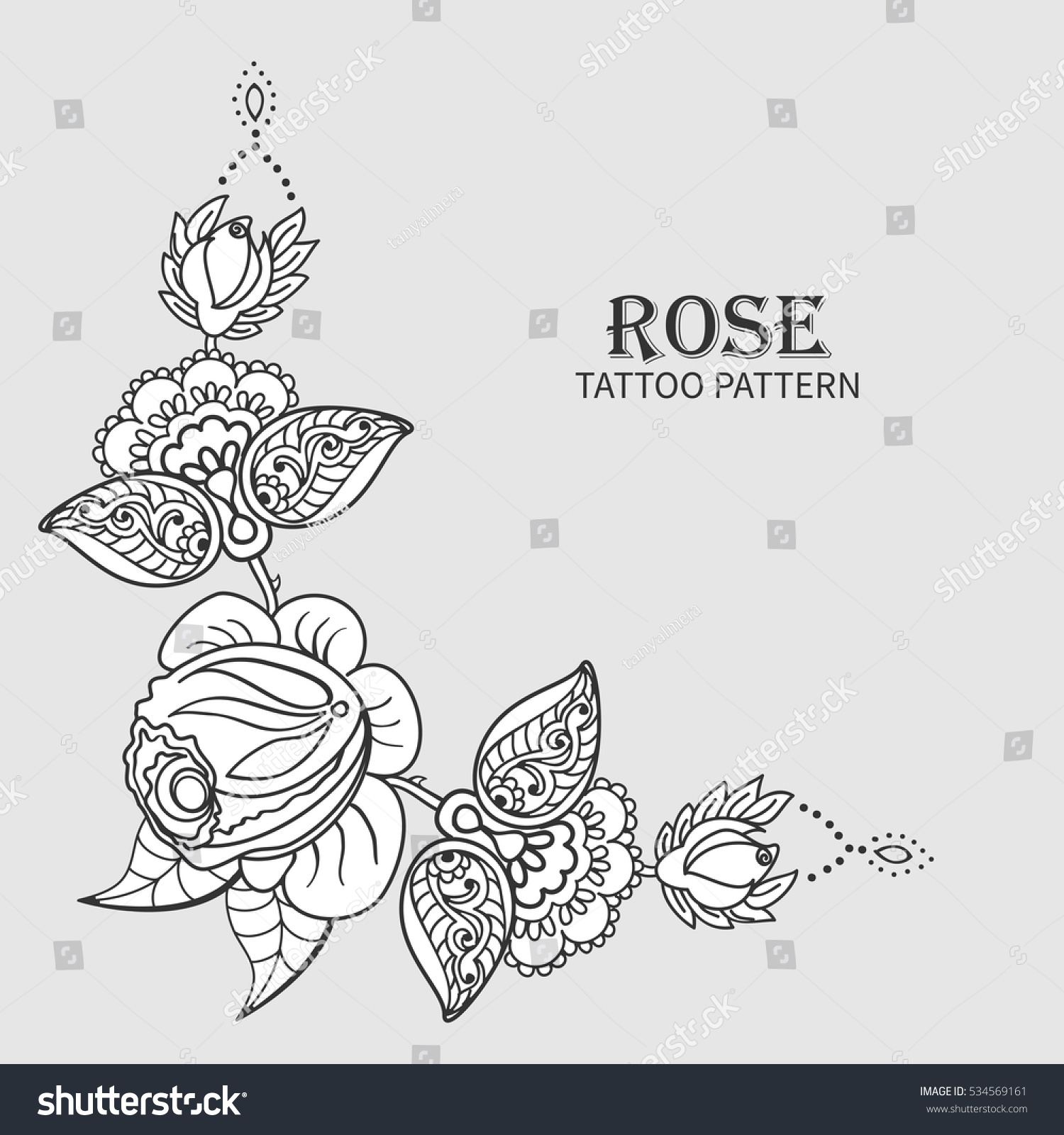 Hand Drawn Rose Ornament Floral Elements Stock Vector Royalty Free