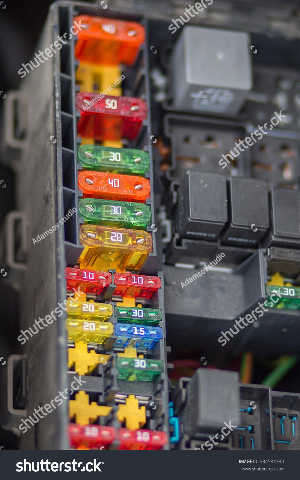 Close View Focus Car Fuse Box Stock Photo Edit Now 534584344 Plastic Up Of Control Engine Lighting